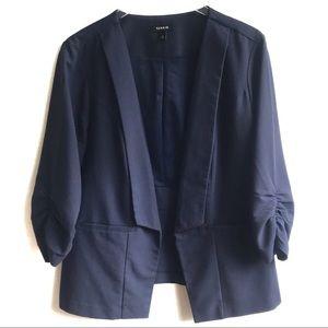 Torrid Navy Blue Crepe Ruched 3/4 Sleeve Blazer 2X